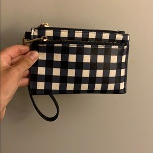 Navy and white criss cross pattern wristlet